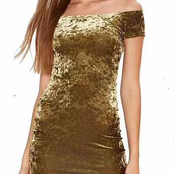 Crushed Velvet Bandage Off The Shoulder Mini Dress