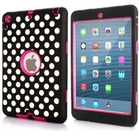 ROKE Deluxe Polka Dot Print Hard Soft Hybrid Armor Combo Case for iPad Mini Retina & iPad Mini - Hot Pink