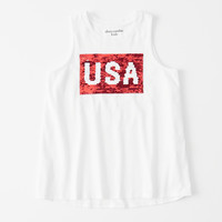 girls flip sequin graphic tank | girls tops | Abercrombie.com