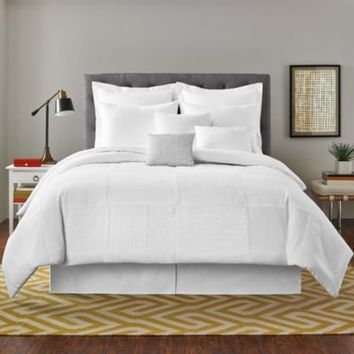 Real Simple® Linear Patchwork European Pillow Sham in White
