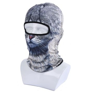 ECYC Fleece Warm Face Mask Windproof Balaclava Hood for Motorcycle Ski Winter Snowmobile Outdoor Research Cold Weather ( grey cat )  One size fits all