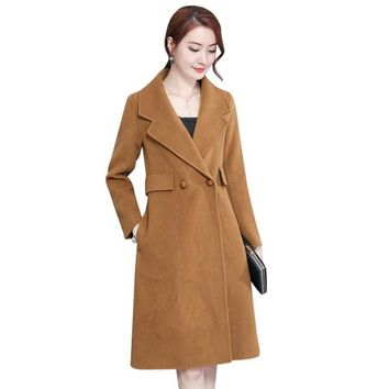 BEAETY STEEL 2017 Winter Woollen Cloth Coat Women Long With High Quality Double Row Long-Sleeved Acetate Stitching Wool coat XXL