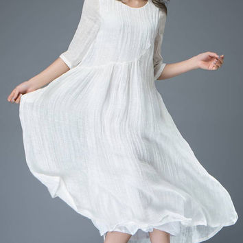 Elegant White Linen Dress Handmade Dress Spring Dress Half Sleeves Dress C820
