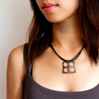 Roller Printed Copper Square Necklace with 4 Punched-out Holes on Adjustable Dark Brown Leather Cord
