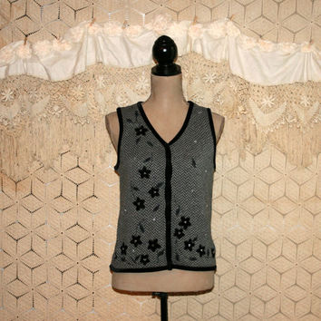 Gray Sweater Vest Gray Vest Winter Warm Vest Knit Vest Herrinbone Black Velvet Applique Liz Claiborne Small Vest Medium Vest Womens Clothing