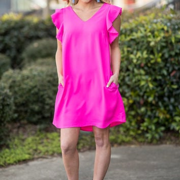 Refined Reality Dress, Hot Pink