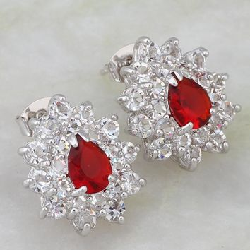Fashion Cute jewelry Red Cubic Zirconia CZ  White Gold  Stud earrings for teen girls JE035