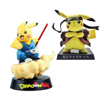 Naruto Sasauke ninja Pikachu  Dragon Ball Goku Action Figure Japanese Carton Anime Figurine  Funny dress Statuette Toys Antistress AT_81_8