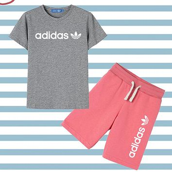 ADIDAS Children Girls Boys Casual Shirt Top Tee Shorts Set Two Piece