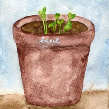 Little Basil Watercolor Painting, Food and Garden Art, Kitchen Painting, Home Decor