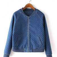 Denim Quilted Bomber Jacket with Grid Pattern