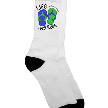 Life is Better in Flip Flops - Blue and Green Adult Crew Socks