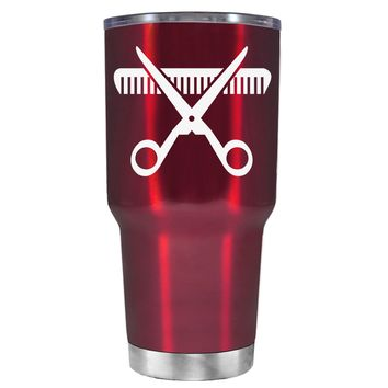 HairStylist Scissor and Comb Silhouette on Translucent Red 30 oz Tumbler Cup