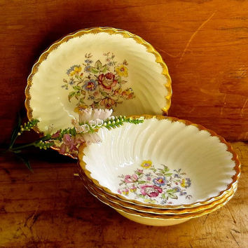 Vintage Royal China Dessert Bowls - Set of Four - Pink and Blue Dinnerware - Country & Best Vintage Royal China Patterns Products on Wanelo