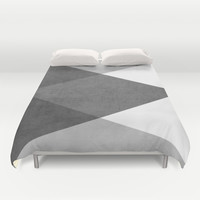 black and white triangles Duvet Cover by Her Art