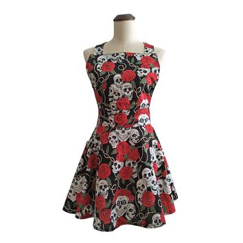 Black Skull Rose Retro Kitchen Apron Cotton