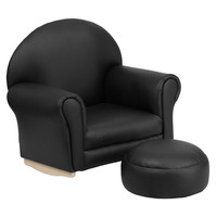 Kids Black Vinyl Rocker Chair and Footrest
