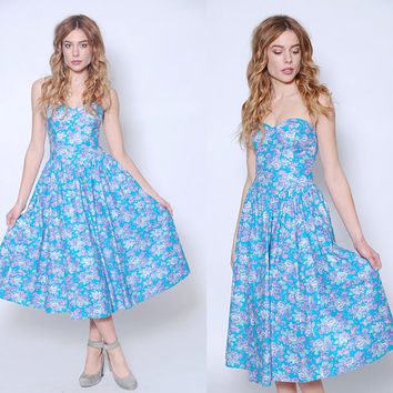 Vintage 80s STRAPLESS Dress Blue Floral Sundress LAURA ASHLEY Dress Corset Dress