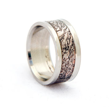 meteorite ring wedding band titanium with oxidized gibeon meteorite inlay