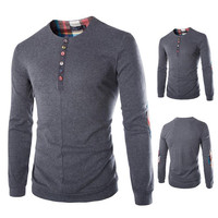 Color Buttons Men's Long Sleeve Tee