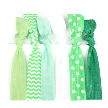 Green Ombre Hair Ties (6) Girl's Knotted Bracelets - Ponytail Holder Hair Tie - Green Elastic Hair Ties - Polka Dot, Chevron FOE Hair Bands