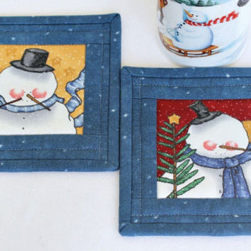 Christmas Coasters, Quilted Snowman Coasters, Whimsical Mug Mats, Winter Bar Mats, Blue Coasters, Set of 2 Coasters, Quiltsy Handmade