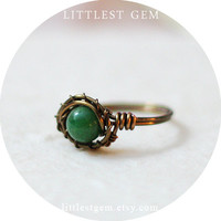 Jade Ring, wire wrapped jewelry handmade, wire wrapped ring, inspired by nature, boho jewelry, unique rings, bohemian jewelry, boho ring