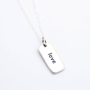 Love tag sterling silver necklace