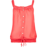 Full Tilt Lace Trim Womens Chiffon Tank Coral  In Sizes