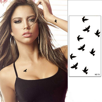 Sexy Finger Wrist Flash Fake Tattoo Stickers Liberty Small Birds Fly Design Waterproof Temporary Tattoos Sticker Henna Tattoo