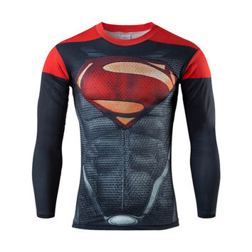 The latest Superman Spiderman Batman compression underwear Men's thermal long-sleeved T-shirt T-shirt sports fitness gym