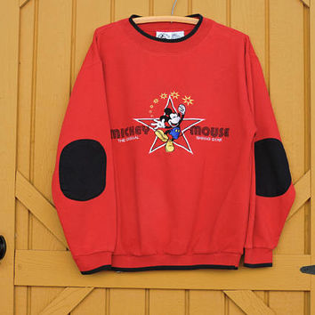 Mickey sweatshirt / size M / 80s Mickey Mouse embroidered sweat shirt / red Mickey & Co shirt / retro Disney mickey mouse sweatshirt