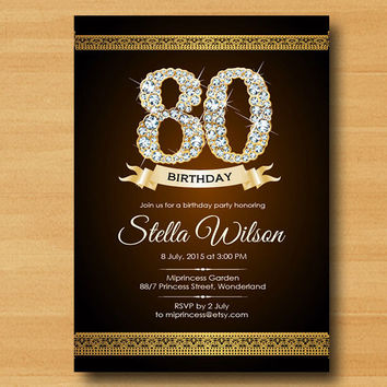 Glitter birthday Invitation 30th 40th 50th 60th 70th 80th any age  Gold Glitter Birthday Party Invitation glitter gold Elegant - card 12