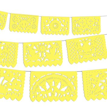 5 PACK,  Yellow Mexican Papel Picado Banners Mexican Fiesta Party Supplies, WS2020