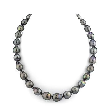 Luxury 10-12mm Tahitian Black Drop Shape Pearl Necklace