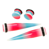 Acrylic White Pink Teal Ombre Taper And Plug 4 Pack