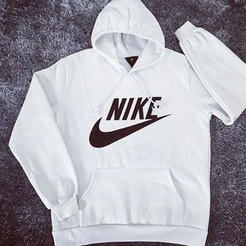 """NIKE"" Fashion Print Hoodie Top Sweater Sweatshirt Coat White"