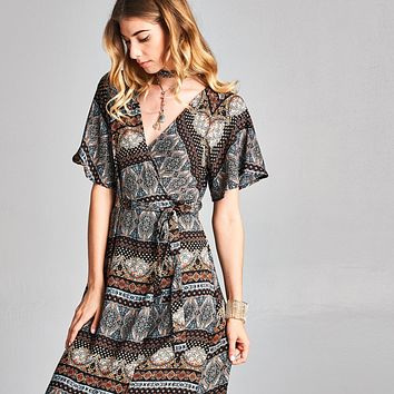 Damask Wrap Around Dress