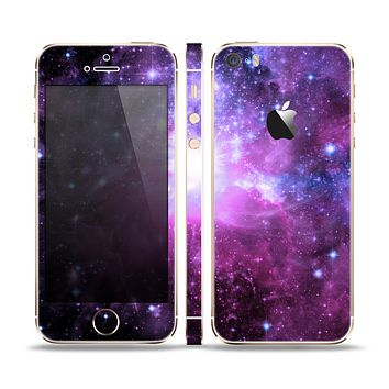 The Purple Space Neon Explosion Skin Set for the Apple iPhone 5s