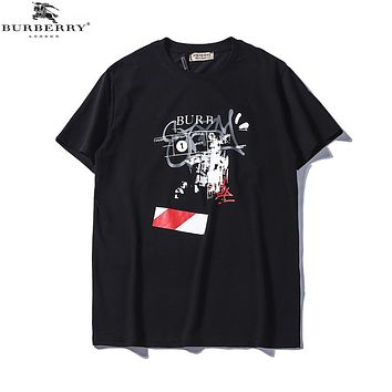 Burberry 2018 men's new round neck straight cotton casual T-shirt Black