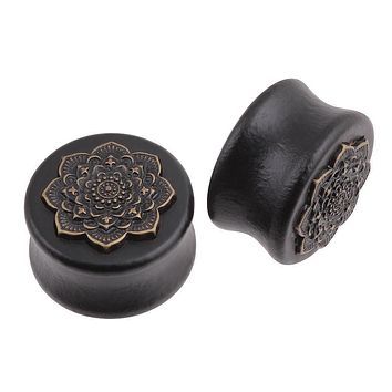 Black Natural Wood Double Flared Ear Plug With Mandala Flower Gauges Tunnels Piercing Body Jewelry