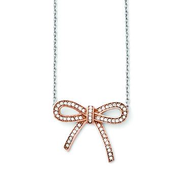Stainless Steel Crystal Polished Bow with 1.75in ext. Necklace SRN1450