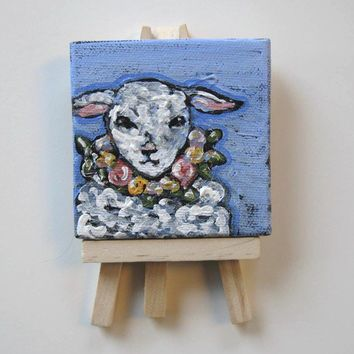 Acrylic Animal Painting, miniature lamb original