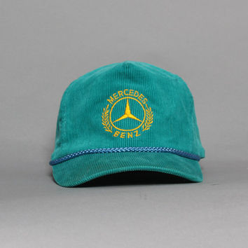 ccda5d58f66 90s MERCEDES Benz HAT   Teal Corduroy Embroidered Snapback Baseball Cap