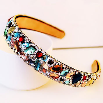 New 2016 Korean Hair Accessories Colorful Rhinestone Crystal Hairbands Women's Hair Jewelry HG227