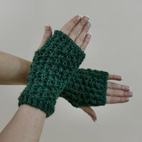 Fingerless Gloves Lace Green Wrist Warmer Women Fashion Fall
