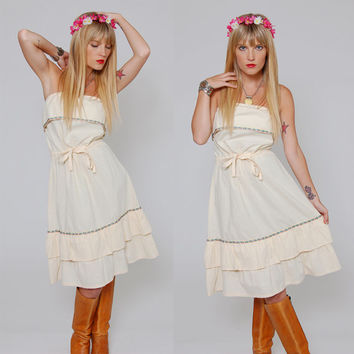 Vintage 70s Strapless Cream Mini Dress Floral Ruffle LANDLUBBER Boho Sun Dress