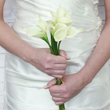 "Mini Real Touch Calla Lily Wedding Bouquet in White14"" Tall x 3/4"" Diameter"