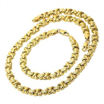 Gold Layered 06.185.0005 Necklace and Bracelet, Hugs and Kisses and Heart Design, Brushed Finish, Golden Tone