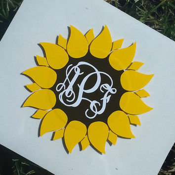 Sunflower Monogram Decal | Sunflower Decal | Monogram Flower| Yeti Monogram | Water Bottle Decal | Computer Decal | Car Monogram